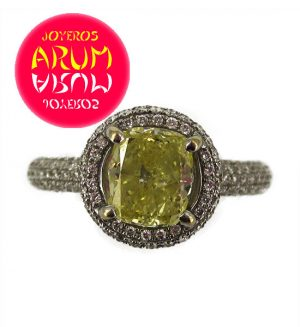 White Gold Ring with Yellow Brilliant 1.53 ct. RAJ246