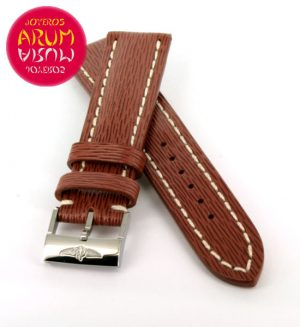 Breitling Strap Brown Striped Leather 20 - 18