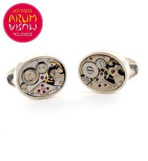 Silver Cufflinks Watch Machine RAJ334