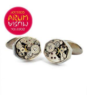Silver Cufflinks Watch Machine RAJ333