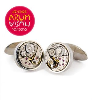 Silver Cufflinks Watch Machine RAJ336