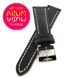 Breitling Strap Blue Striped Leather 18 - 16