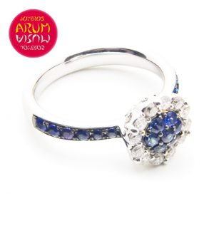 White Gold Ring with Diamonds & Sapphire RAJ799