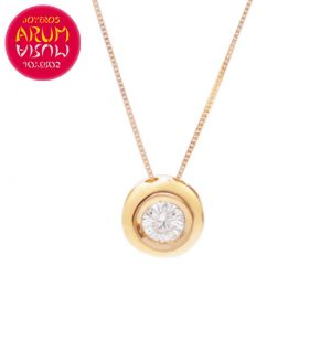 Chain and Pendant 18K Rose Gold Diamond 0.26 cts RAJ1057
