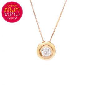 Chain and Pendant 18K Rose Gold Diamond 0.10 cts RAJ1060