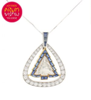 Tree Pendant 18K White Gold with 6,9 cts Diamonds and Sapphires