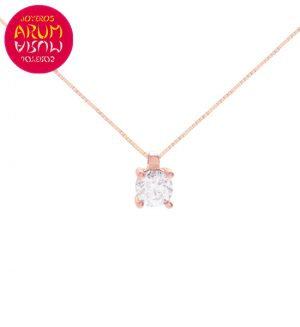 Chain and Pendant 18K Pink Gold with Diamond 0,30 cts. RAJ1132