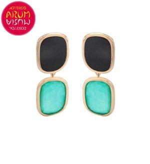 Roberto Coin Earrings 18K Gold Agate and Black Jade EA1008