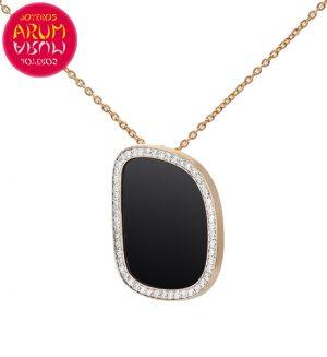 Chain and Pendant Roberto Coin Gold Diamonds Black Jade CL1230