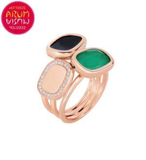 Roberto Coin Ring Gold Black Jade and Agate RI1017