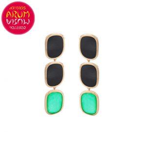 Roberto Coin Earrings 18K Gold Agate and Black Jade EA1142