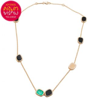 Roberto Coin Necklace Gold Diamonds Black Jade Agate CL1041