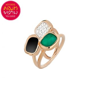 Triple Ring Roberto Coin Gold Diamond Black Jade and Agate RI114