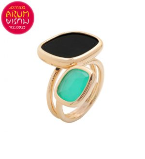 Roberto Coin Ring Gold Black Jade and Agate RI1008