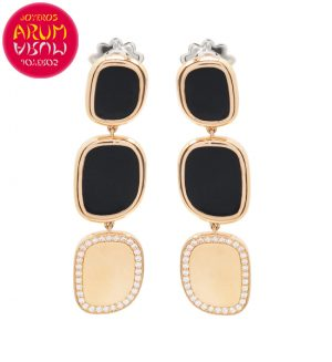 Roberto Coin Earrings Rose Gold Black Jade Diamonds EA1006