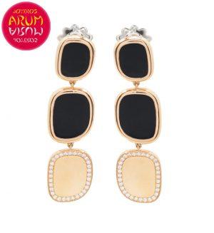 Roberto Coin Earrings Rose Gold Black Jade Diamonds EA1006