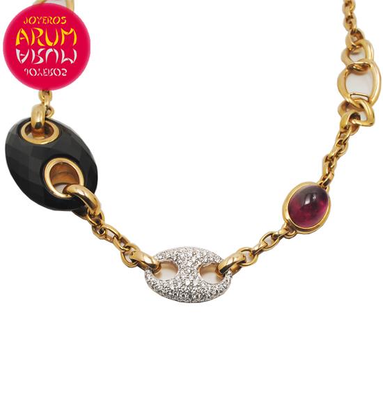 Valente Gold Necklace Diamonds Onyx and Turmaline